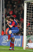 Lionel Messi of Barcelona celebrates scoring with Samuel Eto'o during the UEFA Champions League quarter final first leg match between FC Barcelona and FC Bayern Munich at the Camp Nou stadium on April 8, 2009 in Barcelona, Spain.