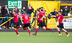 Brechin City's James Dale cele scoring their goal. half time : Alloa Athletic 2 v 1 Brechin City, Ladbrokes Championship Play-Off 2nd Leg at Alloa Athletic's home ground, Recreation Park, Alloa.