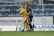 14th September 2019; Dens Park, Dundee, Scotland; Scottish Championship, Dundee Football Club versus Alloa Athletic; Jordan McGhee of Dundee congratulates Jack Hamilton of Dundee after the goalkeeper had saved a penalty from Alan Trouten of Alloa Athletic