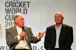 © Licensed to London News Pictures. 30/7/2013. Australian cricket greats Ian Chappell points at Dennis Lillee during the official launch of the I.C.C Cricket World Cup to be held in Australia and New Zealand in 2015, Melbourne, Australia. Photo credit : Asanka Brendon Ratnayake/LNP