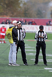 04 November 2017:   Andrew Speciale & Nicole Randolph work on an instant replay during the Western Illinois Leathernecks at Illinois State Redbirds Football game at Hancock Stadium in Normal IL (Photo by Alan Look)