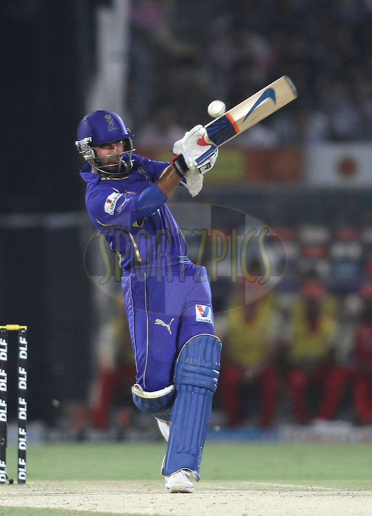 Ajinkya Rahane of the Rajasthan Royals attacks a delivery during match 30 of the the Indian Premier League (IPL) 2012  between The Rajasthan Royals and the Royal Challengers Bangalore held at the Sawai Mansingh Stadium in Jaipur on the 23rd April 2012..Photo by Shaun Roy/IPL/SPORTZPICS