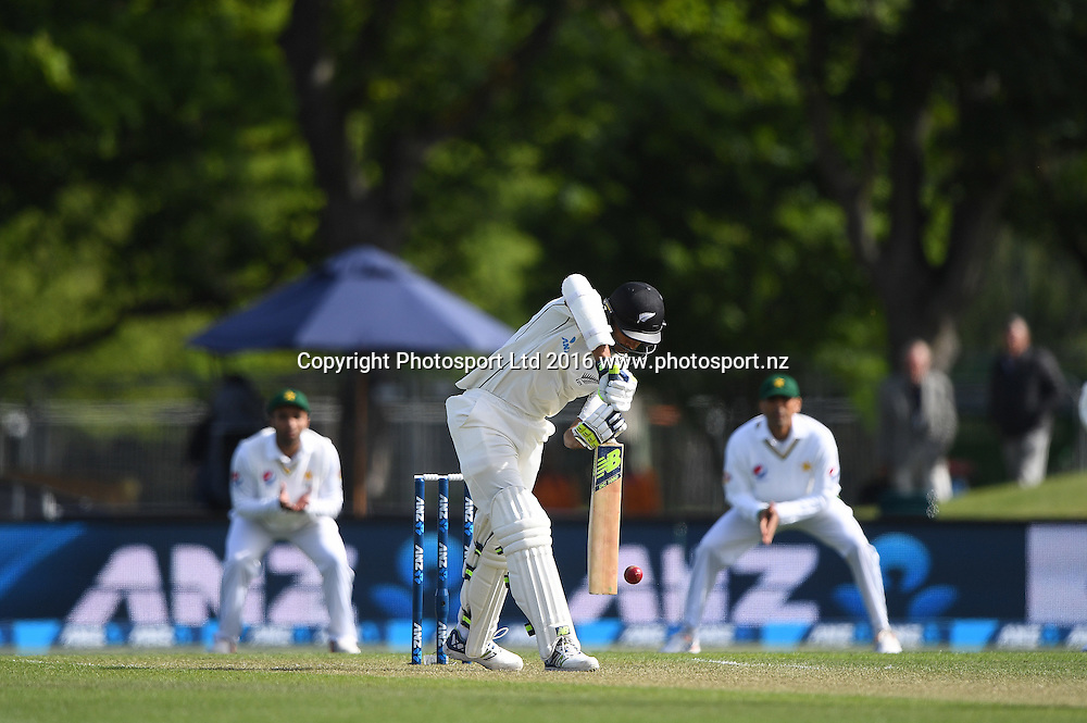 NZ opening batsman Jeet Raval. New Zealand Black Caps v Pakistan. Day 2, 1st test match. Friday 18 November 2016. Hagley Oval, Christchurch, New Zealand. © Copyright photo: Andrew Cornaga / www.photosport.nz