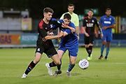 AFC Wimbledon Finlay Macnab (34) battles for possession during the Pre-Season Friendly match between AFC Wimbledon and Crystal Palace at the Cherry Red Records Stadium, Kingston, England on 30 July 2019.