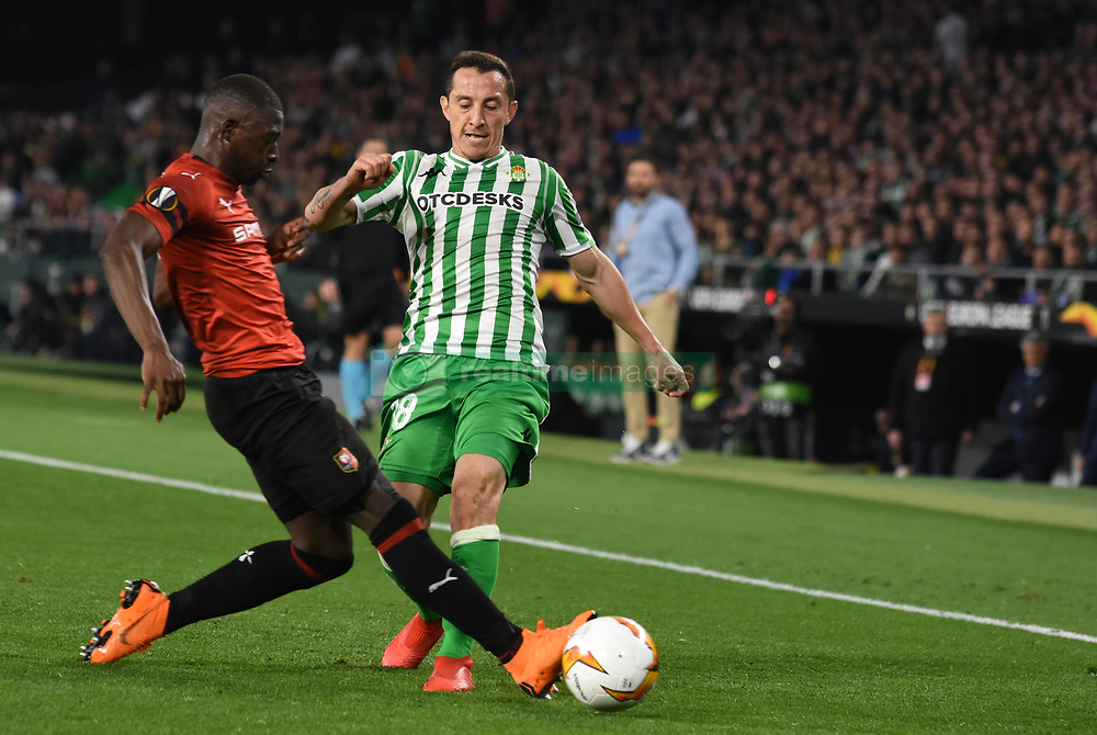 February 21, 2019 - Seville, Spain - Soccer player Andres Guardado during the Europa League round of 32 second leg soccer match between Betis and Rennes at the Benito Villamarin stadium, in Seville, Spain, Thursday, Feb. 21, 2019. (Credit Image: © Gtres/NurPhoto via ZUMA Press)
