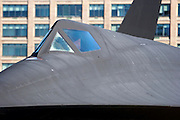 Lockheed A-12 against a backdrop of buildings, at the Intrepid Sea, Air & Space Museum in Manhattan, New York.