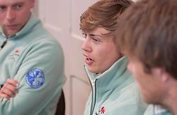 © Licensed to London News Pictures. 05/04/2012. London, U.K..Steve Trapmore (l), Ed Bosson (m), and David Nelson (r) from The Cambridge crew atThe Xchanging Oxford & Cambridge University Boat Race - press conference. The crews meet the press to discuss the boat race on saturday 7th April...Photo credit : Rich Bowen/LNP