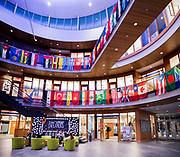 International Flags hang in the Hemmingson Rotunda for International Day of Tolerance.