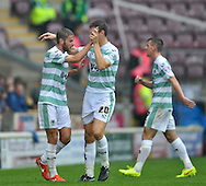 Sam Foley (L) of Yeovil Town celebrates scoring during the Sky Bet League 1 match at the Coral Windows Stadium, Bradford<br /> Picture by Richard Land/Focus Images Ltd +44 7713 507003<br /> 06/09/2014