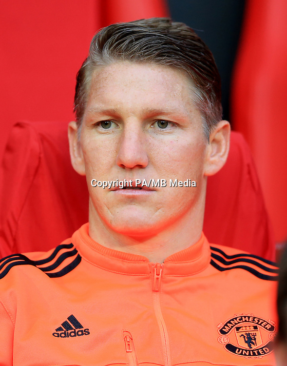Manchester United's Bastian Schweinsteiger on the substitutes bench before the game against Club Brugge.
