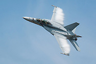 New Windsor, New York - A. U.S. Navy F-18F Super Hornet flies during a practice session before the New York Air Show at Stewart International Airport on Aug. 28, 2015. ©Tom Bushey / The Image Works