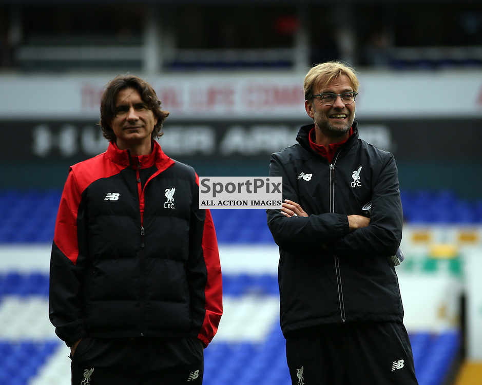 Jurgen Klopp inspects the pitch with his assistant Zeljko Buvac before Tottenham Hotspur vs Liverpool on Saturday 17th of October 2015.