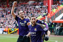Andy Carroll and Morgan Amalfitano (R) celebrate after Diafra Sakho of West Ham scores a goal to make it 0-1 - Photo mandatory by-line: Rogan Thomson/JMP - 07966 386802 - 25/01/2015 - SPORT - FOOTBALL - Bristol, England - Ashton Gate Stadium - Bristol City v West Ham United - FA Cup Fourth Round Proper.