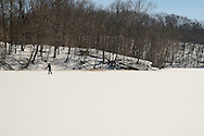 Libby Bauer cross-country skiing on Pocantic Lake in Pocantico Hills,  Westchester.