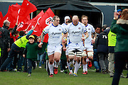 Paul James and Carl Fearns come out of the players tunnel at the beginning of the match. Stade Toulousain v Bath, European Champions Cup 2015, Stade Ernest Wallon, Toulouse, France, 18th Jan 2015.