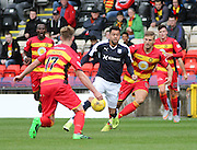 Dundee's Kane Hemmings is out numbered by Partick Thistle defenders - Partick Thistle v Dundee, Ladbrokes Premiership at Firhill<br /> <br />  - &copy; David Young - www.davidyoungphoto.co.uk - email: davidyoungphoto@gmail.com