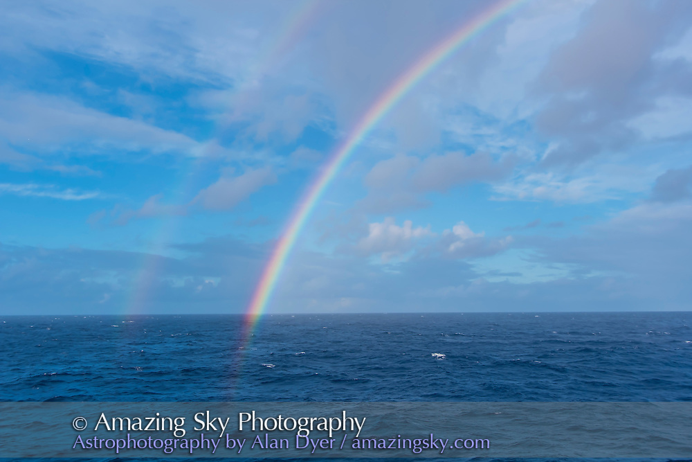 A double rainbow over the Atlantic Ocean prior to the start of the partial phases of the total eclipse of the Sun, Nov 3, 2013, from at sea on the Star Flyer sailing ship.
