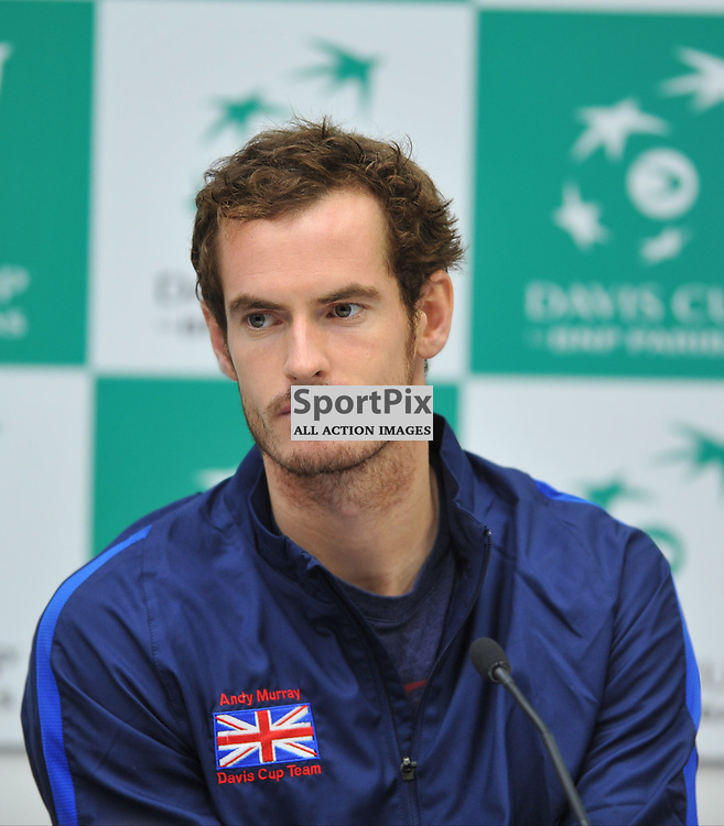 Andy Murray gives a press conference after after the 4th rubber and GB win the 4th rubber between Great Britain v Australia, Semi Finals,  Aegeon Davis Cup by BNP Paribas, Sunday 20 September 2015 (c) Angie Isac | SportPix.org.uk