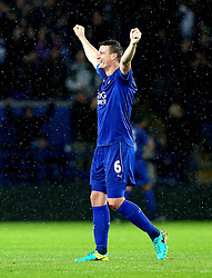 Robert Huth of Leicester City celebrates Jamie Vardy of Leicester City scoring a goal - Mandatory by-line: Robbie Stephenson/JMP - 10/12/2016 - FOOTBALL - King Power Stadium - Leicester, England - Leicester City v Manchester City - Premier League