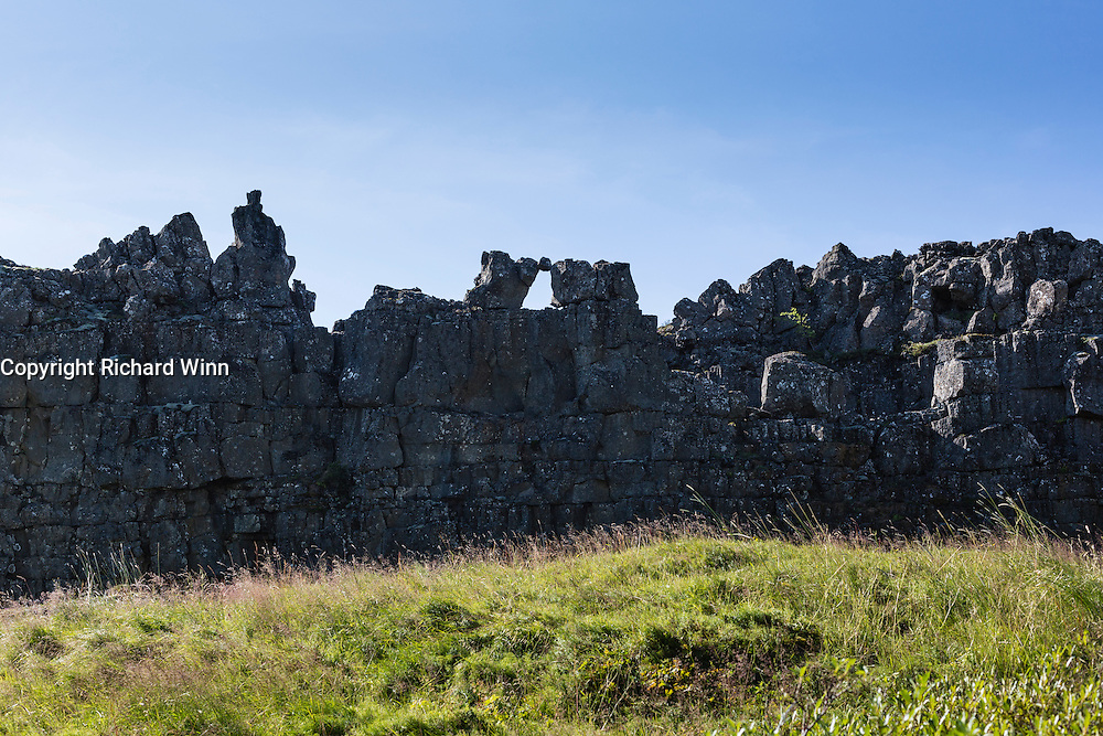 Representation of some of the Law Speakers of past centuries over the River Öxará in Thingvellir National Park.
