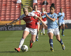 February 23, 2019 - Sheffield, England, United Kingdom - Demi Stokes tried to catch an Arsenal attack during the  FA Women's Continental League Cup Final  between Arsenal and Manchester City Women at the Bramall Lane Football Ground, Sheffield United FC Sheffield, Saturday 23rd February. (Credit Image: © Action Foto Sport/NurPhoto via ZUMA Press)