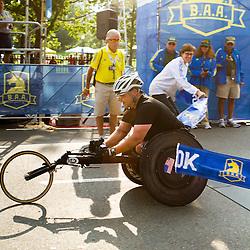 Patrick Doak, MA, wheelchair crosses finish line, wins