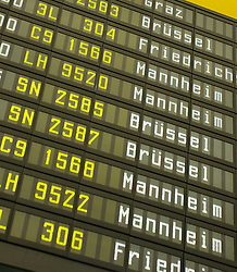 Arrivals board detail at Tempelhof Airport in Berlin 2008. The Nazi era airport is architecturally unique and was closed in 2008