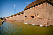 Brick walls of Fort Pulaski National Monument on Cockspur Island between Savannah and Tybee Island, Georgia.