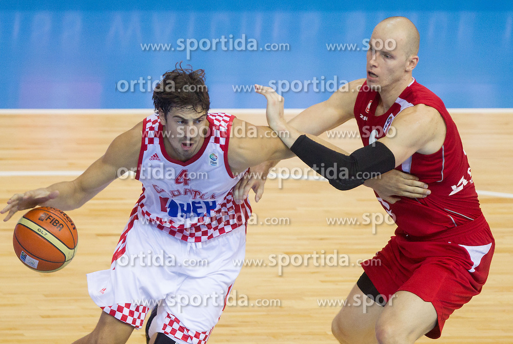 Ante Tomic #4 of Croatia vs Maciej Lampe #6 of Poland during basketball match between National teams of Croatia and Poland in Round 1 at Day 4 of Eurobasket 2013 on September 7, 2013 in Arena Zlatorog, Celje, Slovenia. (Photo by Vid Ponikvar / Sportida.com)