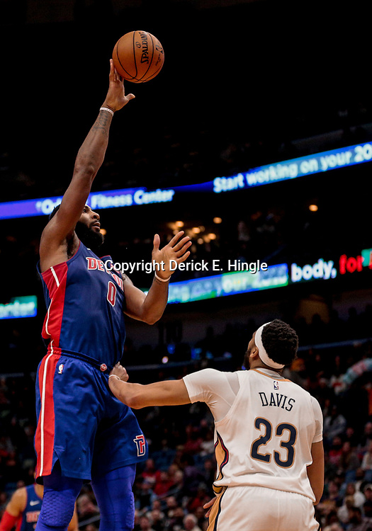 Jan 8, 2018; New Orleans, LA, USA; Detroit Pistons center Andre Drummond (0) shoots over New Orleans Pelicans forward Anthony Davis (23) during the first quarter at the Smoothie King Center. Mandatory Credit: Derick E. Hingle-USA TODAY Sports