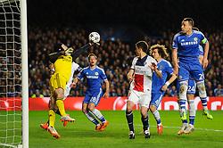 Chelsea Goalkeeper Petr Cech (CZE) swats away a PSG free kick - Photo mandatory by-line: Rogan Thomson/JMP - 07966 386802 - 08/04/2014 - SPORT - FOOTBALL - Stamford Bridge, London - Chelsea v Paris Saint-Germain - UEFA Champions League Quarter-Final Second Leg.
