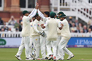 Mohammad Abbas of Pakistan celebrates after bowling Mark Stonemanon Day One of the NatWest Test Match match at Lord's, London<br /> Picture by Simon Dael/Focus Images Ltd 07866 555979<br /> 24/05/2018