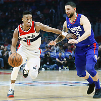 09 December 2017: Washington Wizards guard Tim Frazier (8) drives past LA Clippers guard Austin Rivers (25) during the LA Clippers 113-112 victory over the Washington Wizards, at the Staples Center, Los Angeles, California, USA.