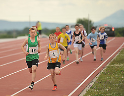 Out front...Rossa McAllister Westport and James Marrey Ballinrobe taking part in Boys Under 12 600m at the Mayo Commmunity Games finals.<br /> Pic Conor McKeown