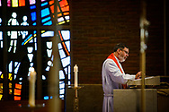 The Rev. David Petersen, pastor of Redeemer Lutheran Church, Fort Wayne, Ind., preaches at the opening Divine Service in the Chapel of Our Lord during the 2017 Institute on Liturgy, Preaching and Church Music on Tuesday, July 25, 2017, on the campus of Concordia University Chicago in River Forest, Ill. LCMS Communications/Erik M. Lunsford