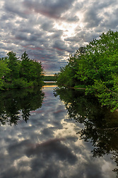 A cloudy morning on the West Branch of the Pleasant River near Silver Lake in Piscataquis County, Maine. Near Greenville.