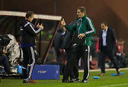 BRUSSELS, BELGIUM - Sunday, November 16, 2014: Fourth official Antonin Kordula and Wales' goalkeeping coach Martyn Margetson during the UEFA Euro 2016 Qualifying Group B game against Belgium at the King Baudouin [Heysel] Stadium. (Pic by David Rawcliffe/Propaganda)