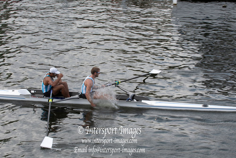 Henley on Thames, England, United Kingdom, Sunday, 07.07.19, A. Diaz & A. Haack Argentina, celebrate, after winning the Final of the Silver Goblets & Nickalls' Challenge Cup, Henley Royal Regatta,  Henley Reach, [©Karon PHILLIPS/Intersport Images]<br /> <br /> 14:57:42 1919 - 2019, Royal Henley Peace Regatta Centenary,