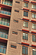 Abstract shot of high rise building with red awnings in downtown Phoenix, AZ