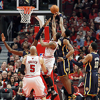 16 April 2011: Chicago Bulls point guard Derrick Rose (1) goes for the layup during the Chicago Bulls 104-99 victory over the Indiana Pacers, during the game 1 of the Eastern Conference first round at the United Center, Chicago, Illinois, USA.