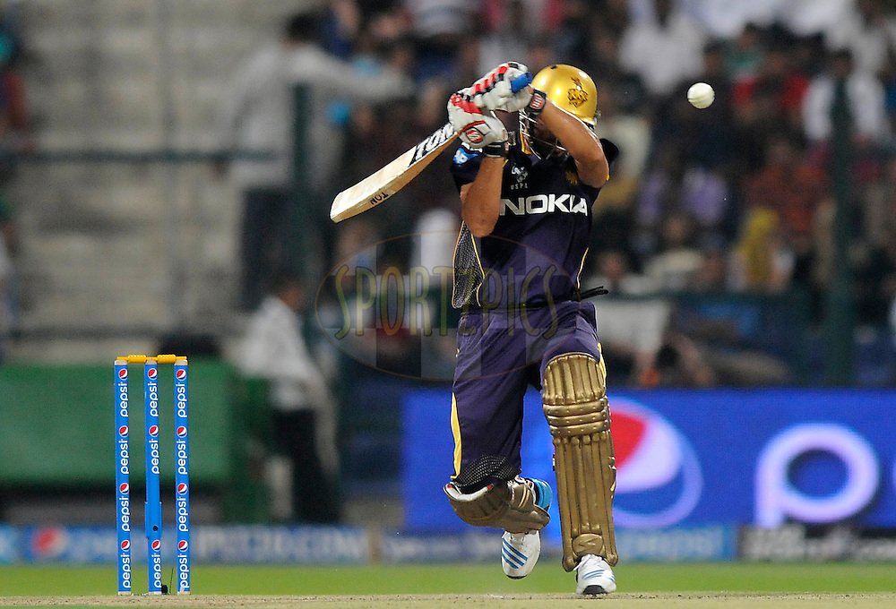 Manvinder Bisla of the Kolkata Knight Riders bats during match 19 of the Pepsi Indian Premier League 2014 Season between The Kolkata Knight Riders and the Rajasthan Royals held at the Sheikh Zayed Stadium, Abu Dhabi, United Arab Emirates on the 29th April 2014<br /> <br /> Photo by Pal Pillai / IPL / SPORTZPICS