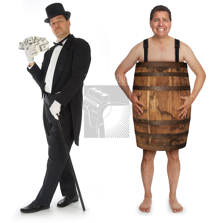Man in tuxedo, top hat and cane fanning himself with stacks of money standing next to the same man who is using a barrel as clothing