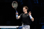 Andy Murray at the net during the ATP World Tour Finals at the O2 Arena, London, United Kingdom on 20 November 2015. Photo by Phil Duncan.