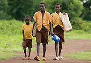 Boys walk to school near the village of Ying, Ghana on Wednesday June 6, 2007.