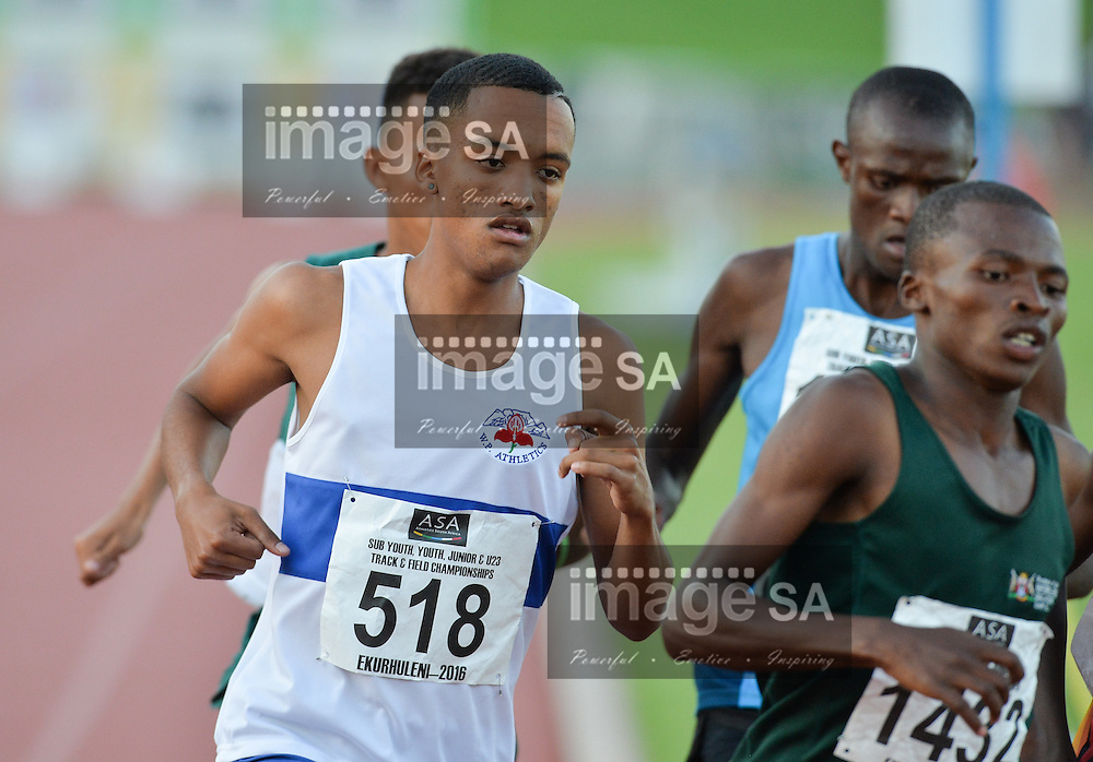 GEMISTON, SOUTH AFRICA - MARCH 31: Dylon Atson of Western Province in the heats of the junior mens 1500m during the day 1 of the  SA Sub-Youth, Youth, Junior and U/23 Track and Field Championships at Germiston Stadium on March 31, 2016 in Germiston, South Africa. (Photo by Roger Sedres/Gallo Images)