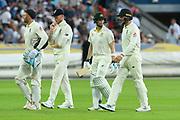 Jonny Bairstow of England, Ben Stokes of England, Steve Smith of Australia amd Jos Buttler of England walk off for bad light during the International Test Match 2019 match between England and Australia at Edgbaston, Birmingham, United Kingdom on 3 August 2019.