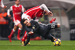 January 13, 2018 - Braga, Braga, Portugal - Benfica's Argentinian forward Franco Cervi (R) vies with Braga's Portuguese midfielder Joao Carlos Teixeira (L) during the Premier League 2017/18 match between SC Braga and SL Benfica, at Municipal de Braga Stadium in Braga on January 13, 2018. (Credit Image: © Dpi/NurPhoto via ZUMA Press)