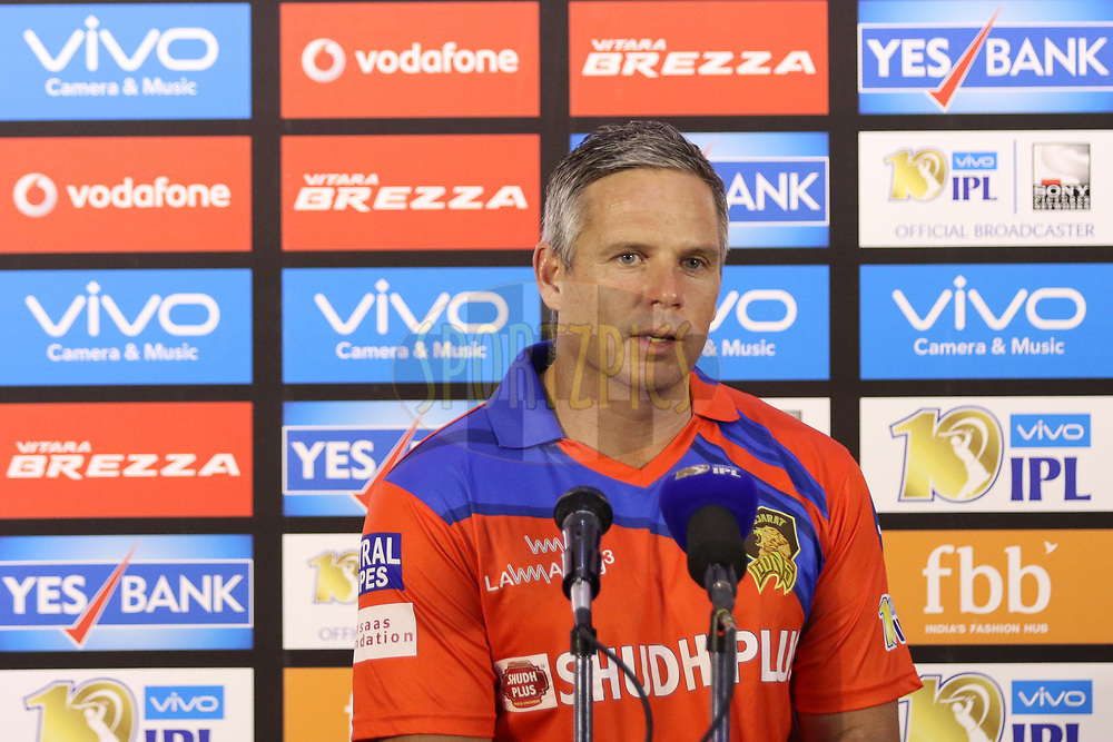 Gujarat Lions Coach Brad Hodge addressing media after the match 6 of the Vivo 2017 Indian Premier League between the Sunrisers Hyderabad and the Gujarat Lions held at the Rajiv Gandhi International Cricket Stadium in Hyderabad, India on the 9th April 2017<br /> <br /> Photo by Faheem Hussain - IPL - Sportzpics