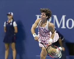 September 5, 2018 - New York, New York, United States - Carla Suarez Navarro of Spain returns ball during US Open 2018 quarterfinal match against Madison Keys of USA at USTA Billie Jean King National Tennis Center  (Credit Image: © Lev Radin/Pacific Press via ZUMA Wire)
