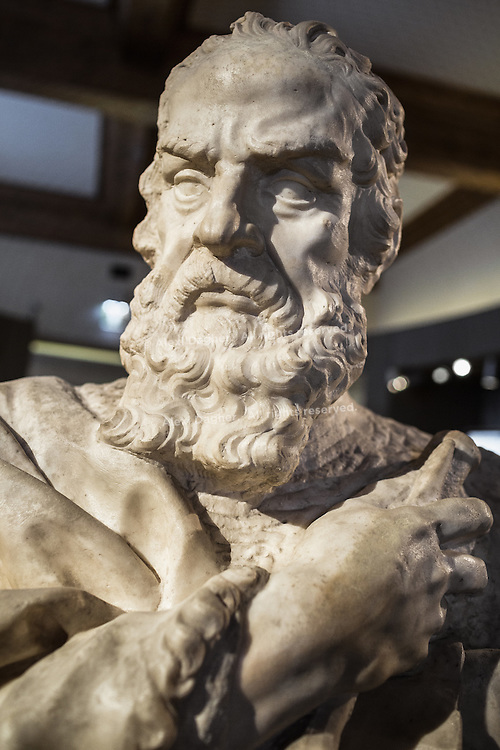 A marble bust of the Italian astronomer, physicist and philosopher Galileo Galilei made by Carlo Marcellini in 1674, Museo Galileo - Florence, Italy 2014